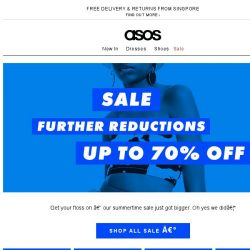 [ASOS] Up to 70% off – further reductions are on!