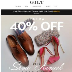 [Gilt] Extra 40% Off: The Semi-Annual Shoe Event