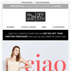 [Saks OFF 5th] Ciao: up to 70% OFF Max Mara, Valentino Garavani & MORE! + PRICE DROP Alert: 7 For All Mankind & more!