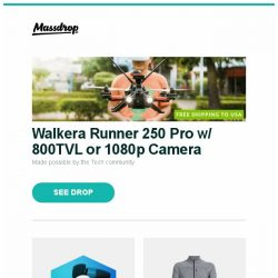 [Massdrop] Walkera Runner 250 Pro w/ 800TVL or 1080p Camera, Massdrop Blue Box: Thinksound, Icebreaker Mt. Elliot Men's Long-Sleeve Zip and more...