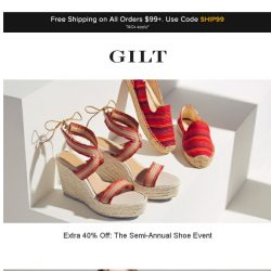 [Gilt] Extra 40% Off: The Semi-Annual Shoe Even | Up to 60% Off: Cosabella and More Start Now
