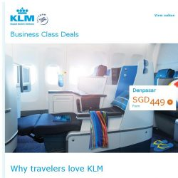 [KLM] Fly in style to Bali in Business Class from SGD 449!