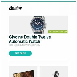 [Massdrop] Glycine Double Twelve Automatic Watch, Viotek 34-Inch 1440p Curved 100Hz Gaming Monitor, AKRacing Pro Gaming Chair (2018 Model) and more...