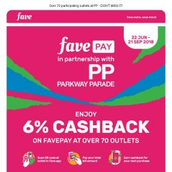 [Fave] Parkway Parade 6% Cashback: Best Denki, Watsons, Putien & more! | Visit Yummy Food Expo!