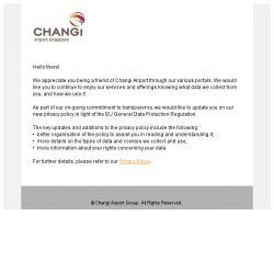 [Changi Airport] Updates to our Privacy Policy