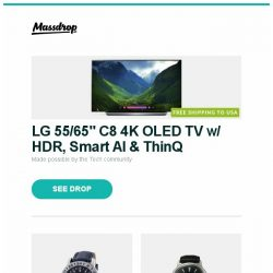 """[Massdrop] LG 55/65"""" C8 4K OLED TV  w/ HDR, Smart AI & ThinQ, Glycine Airman 18 Automatic Watch, Orient Bambino Automatic Watch and more..."""