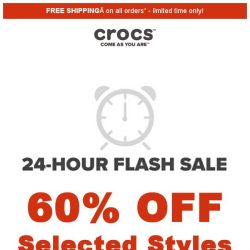 [Crocs Singapore] 【24hrs ONLY⏰】 Up to 60% off on clogs, loafers, and shoes!