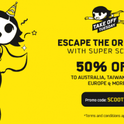 Scoot: Extended Take Off Tuesday with 50% OFF to Australia, Taiwan, Japan & More!
