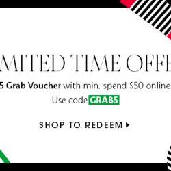 Sephora Singapore: Get a $5 Grab Voucher with Min. Spend of $50 Online or In App!
