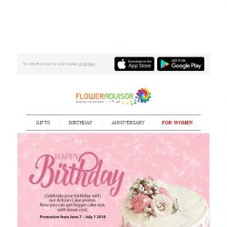 [Floweradvisor] Last chance to enjoy UP TO S$38 OFF for our exclusive artisan cake!