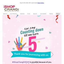 [iShopChangi] 5,4,3,2,1 We are 5! ✋