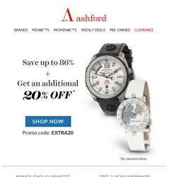 [Ashford] Want 20% off your next order?