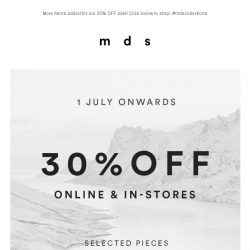 [MDS] It's On! 20% OFF on selected items for 48 hours only.