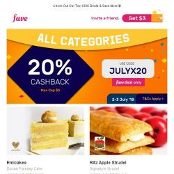 [Fave] Get 20% CASHBACK On EVERYTHING! Emicakes, Tokyo Milk Cheese Factory, & More!