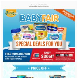 [Giant] ⌛Only 3 Days Starts from 6th July! ✨ Exclusive Offers for your 👶 Babies!