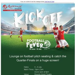 [Resorts World Sentosa] Lounge on football pitch seating & catch the Quarter-Finals on a huge screen!