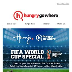 [HungryGoWhere] Gear up for FIFA World Cup Quarter Finals tonight - Get 3 bottles free with purchase of 5 bottles of Budweiser at Harry's