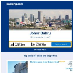 [Booking.com] Deals in Johor Bahru from S$ 15