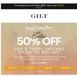 [Gilt] Extra 50% Off Summer Friday Styles | Plus, Extra 50% Off: Handbags and More Start Now