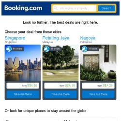 [Booking.com] Singapore, Petaling Jaya, or Nagoya? Get great deals, wherever you want to go