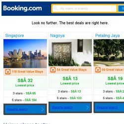 [Booking.com] Singapore, Nagoya and Petaling Jaya -- great last-minute deals as low as S$ 13!