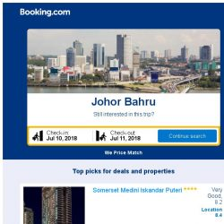 [Booking.com] Deals in Johor Bahru from S$ 14