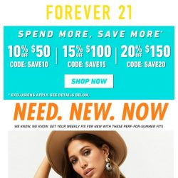 [FOREVER 21] SPEND MORE. SAVE MORE. 💸