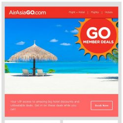 [AirAsiaGo] 💌 Congratulations! You qualify for 1/2 price hotel deals. 💌