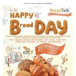 [BreadTalk] Happy Bread Day! Enjoy 18 popular buns at $1 each