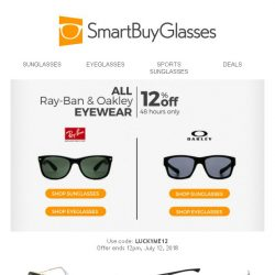 [SmartBuyGlasses] 2 day sale, 2 fan-favourite brands: 12% off shades & specs!