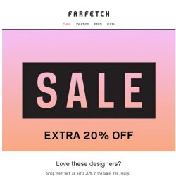 [Farfetch] Get an extra 20% off these designers in Sale