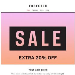 [Farfetch] Extra 20% off Sale. Get these before they go