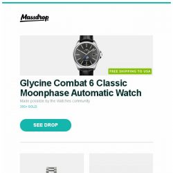 [Massdrop] Glycine Combat 6 Classic Moonphase Automatic Watch, Seiko SNA Flight Alarm Chronograph Watch, Massdrop x Noble Kaiser 10 Universal IEMs and more...