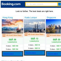 [Booking.com] Hong Kong, Kuala Lumpur and Singapore -- great last-minute deals as low as S$ 13!