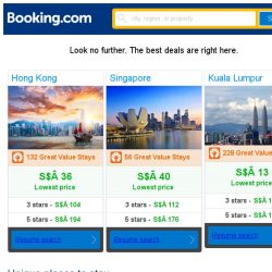 [Booking.com] Hong Kong, Singapore and Kuala Lumpur -- great last-minute deals as low as S$ 13!