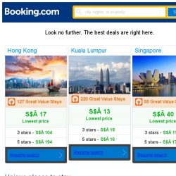 [Booking.com] Hong Kong, Kuala Lumpur, or Singapore? Get great deals, wherever you want to go