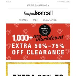 [Last Call] Heads up! Extra 30%–50% off EVERYTHING