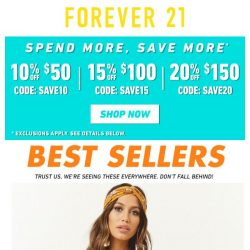 [FOREVER 21] ⏰ SPEND MORE, SAVE MORE ENDS TODAY!