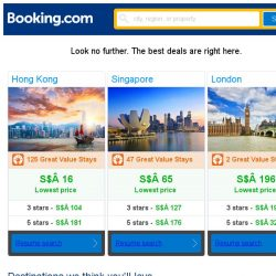 [Booking.com] Hong Kong, Singapore and London -- great last-minute deals as low as S$ 16!