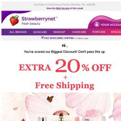 [StrawberryNet] Only 1 Day Left! Get your Extra 20% Off + Free Shipping ASAP