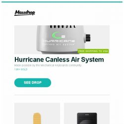 [Massdrop] Hurricane Canless Air System, Therm-a-Rest NeoAir XLite Sleeping Pad, Onkyo G3 Smart Speaker w/ Google Assistant and more...