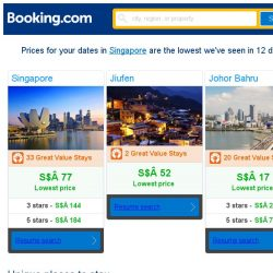 [Booking.com] Prices in Singapore are the lowest we've seen in 12 days!