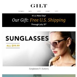 [Gilt] Burberry & More $99.99 Sunglasses | Up to 75% Off Swim Clearance