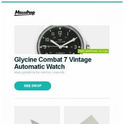 [Massdrop] Glycine Combat 7 Vintage Automatic Watch, Rike Knife Damascus Hummingbird Mini Flipper Knife, Pressing Mat and more...
