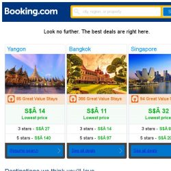 [Booking.com] Yangon, Bangkok, or Singapore? Get great deals, wherever you want to go