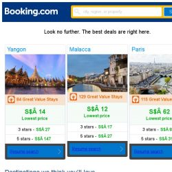 [Booking.com] Yangon, Malacca, or Paris? Get great deals, wherever you want to go