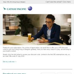 [Cathay Pacific Airways] Exclusive discount code for your next holiday