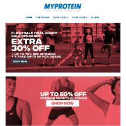 [MyProtein] ⏳ Flash Sale Ends Midnight - Don't Miss Out!