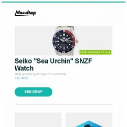 "[Massdrop] Seiko ""Sea Urchin"" SNZF Watch, LG 55/65"" SK9000PUA ThinQ Super UHD AI TVs, Massdrop Blue Box: Thinksound and more..."