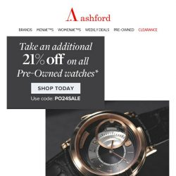 [Ashford] TODAY. Flash Sale on all Pre- Owned watches